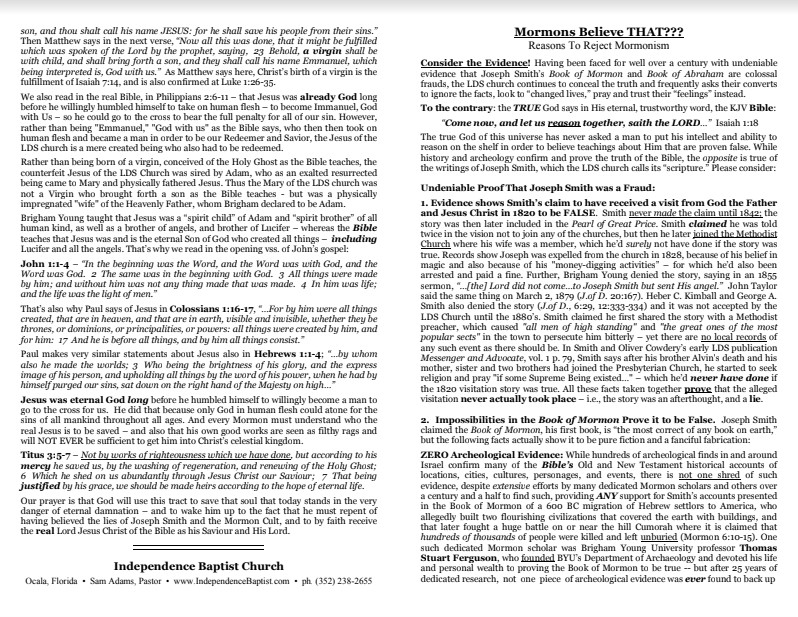 Mormonism tract preview