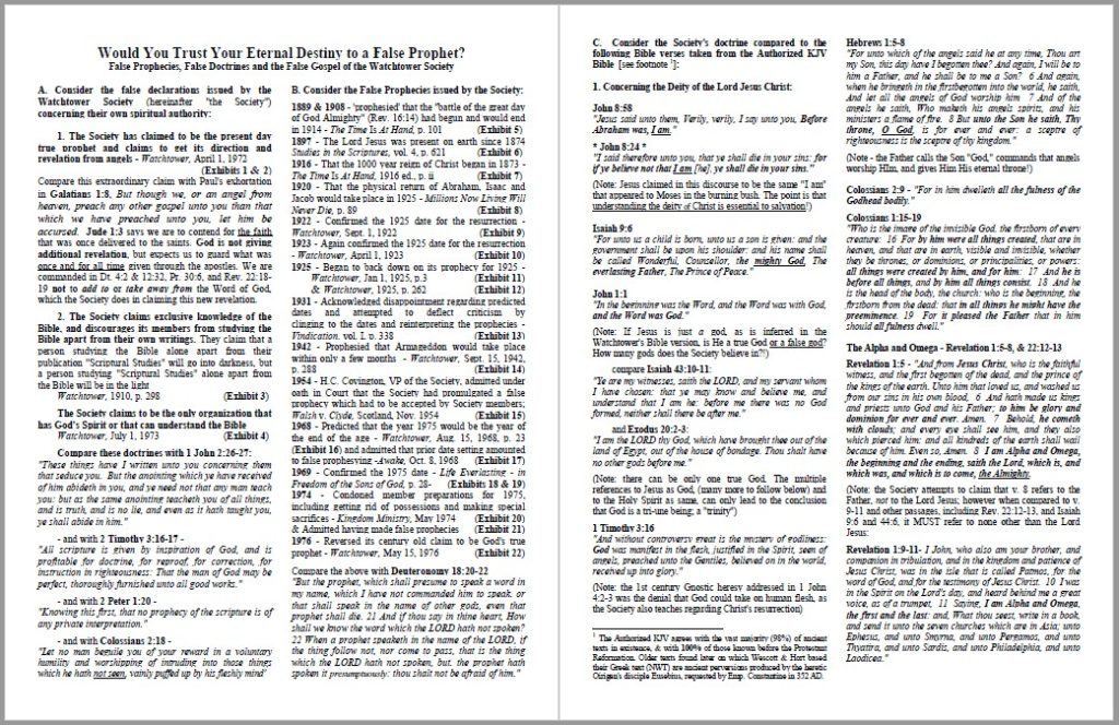 Jehovahs Witnesses Would you trust your eternal destiny to a false prophet