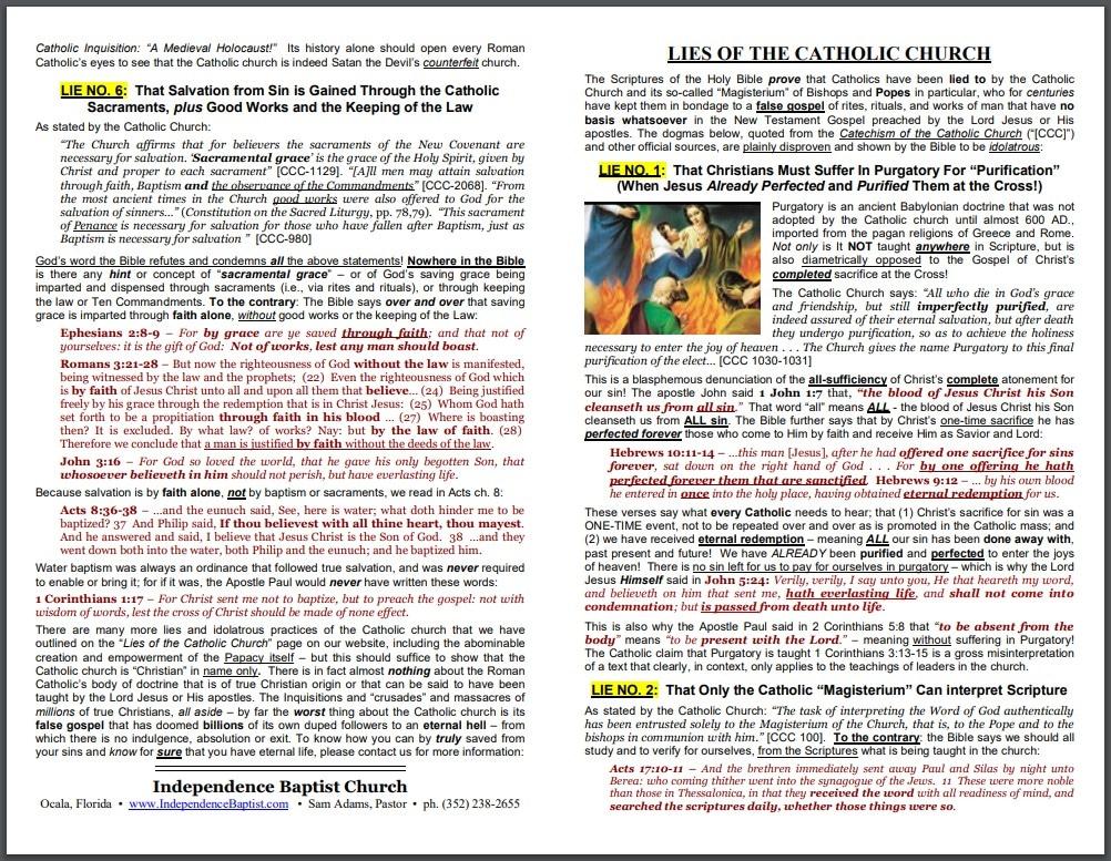 lies of the catholic church pastor sam adams
